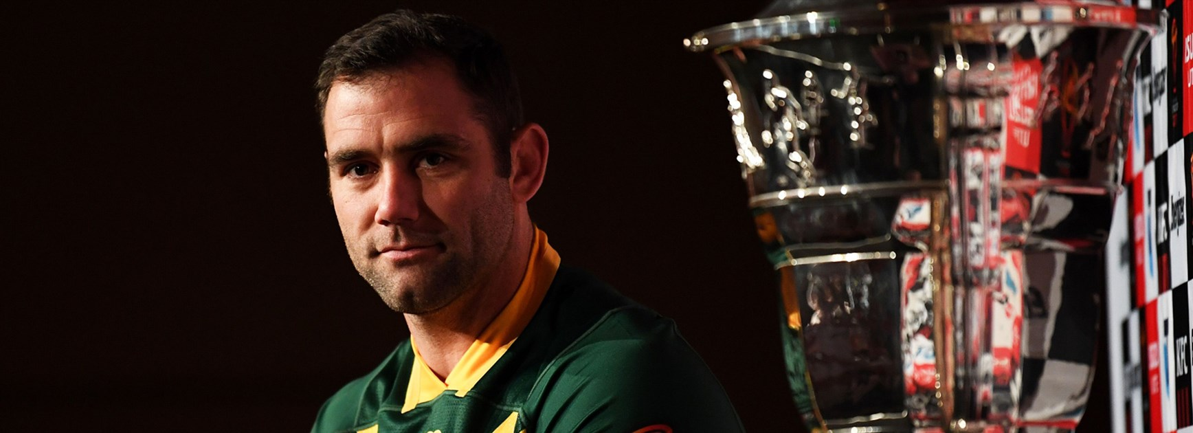 Australia captain Cameron Smith with the Rugby League World Cup trophy.