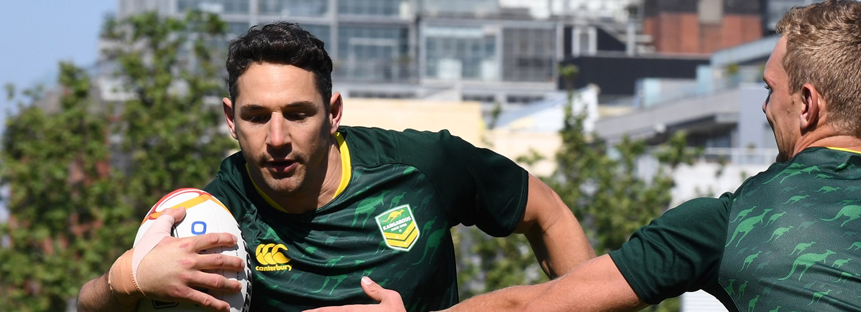 Kangaroos fullback Billy Slater at training in Melbourne ahead of the World Cup opener against England.