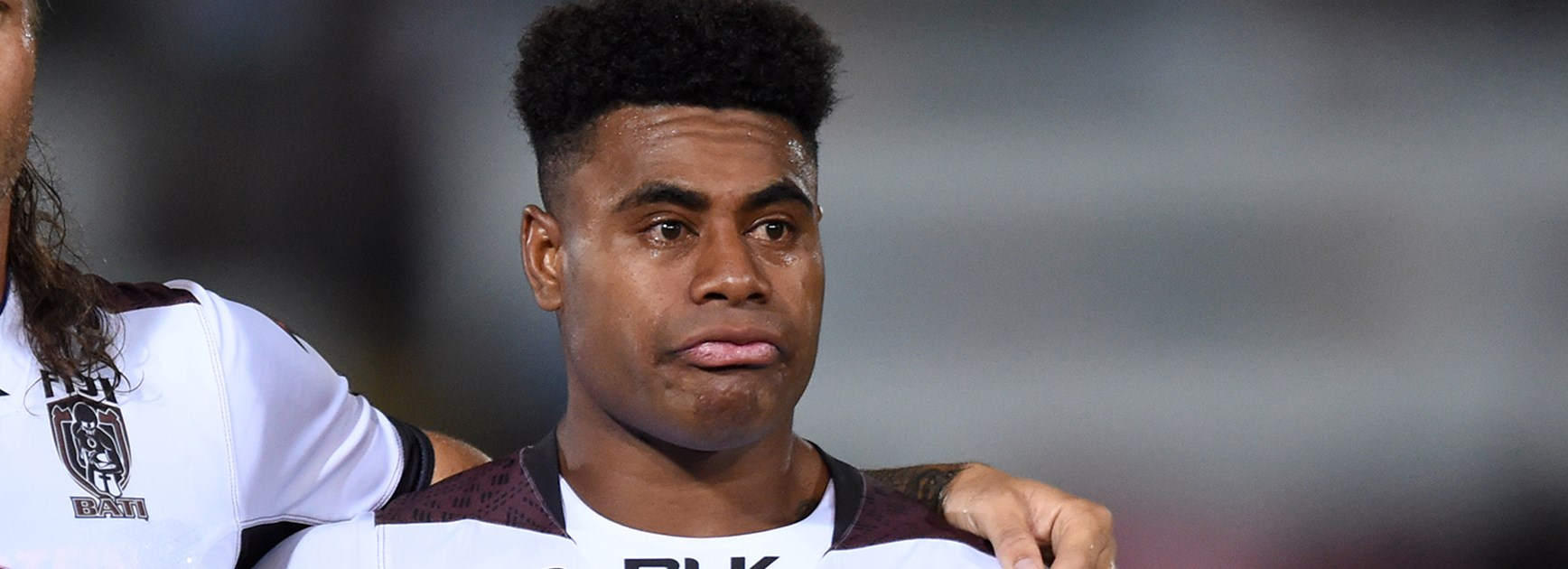Fiji's Kevin Kev Naiqama was emotional during the singing of the anthems ahead of their World Cup opener.