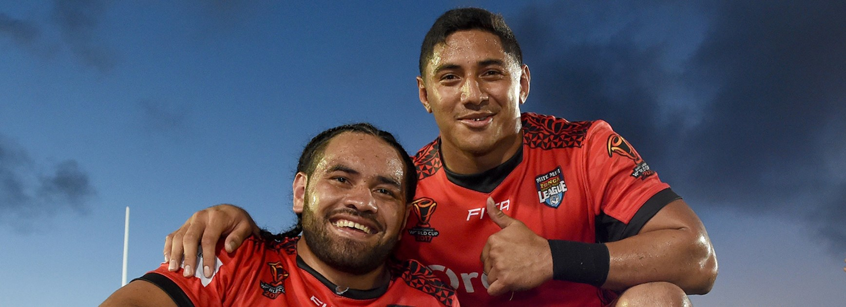 Tonga stars Konrad Hurrell and Jason Taumalolo.