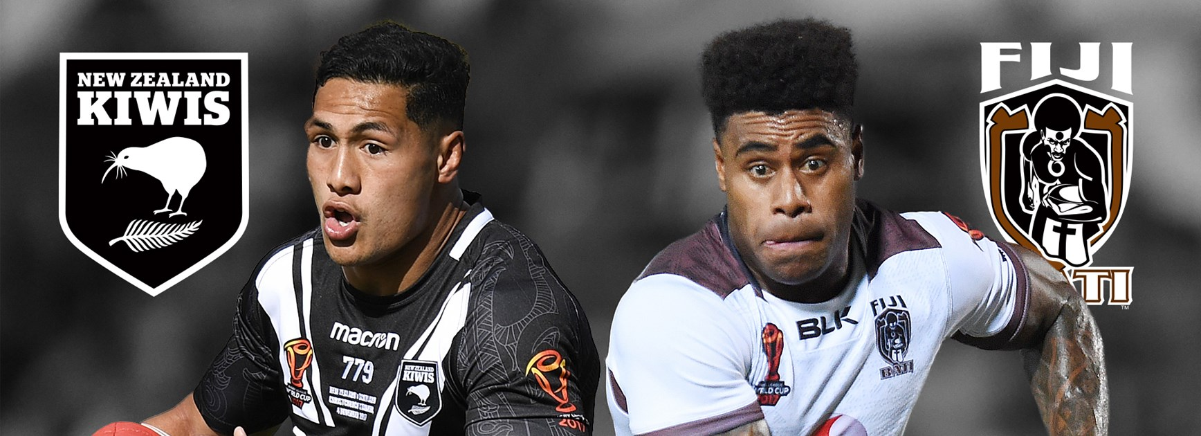 Fullbacks Roger Tuivasa-Sheck and Kevin Naiqama fill go head to head in the World Cup quarter-finals.