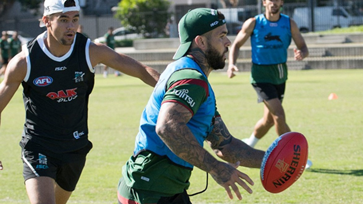 Rabbitohs halfback Adam Reynolds in action during a hybrid training session with Port Adelaide.