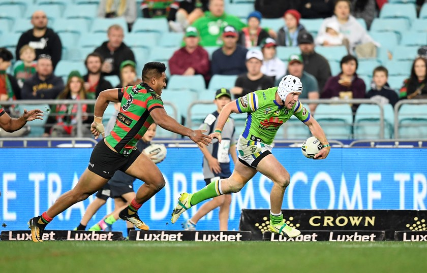 Canberra Raiders centre Jarrod Croker takes on the South Sydney defence.