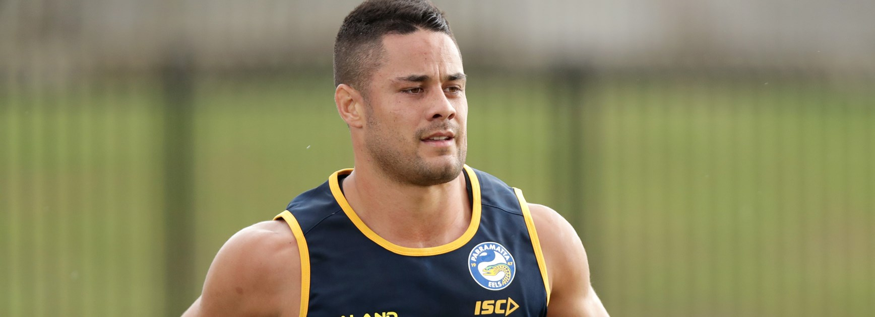 Jarryd Hayne on his first day back at training with the Parramatta Eels.