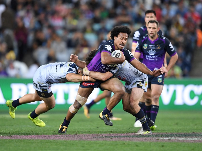 Felise Kaufusi takes on the Cowboys in the 2017 NRL grand final.