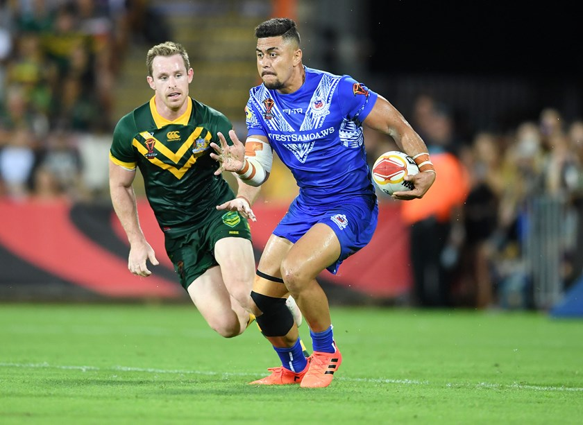 Tim Lafai playing for Samoa in the World Cup.