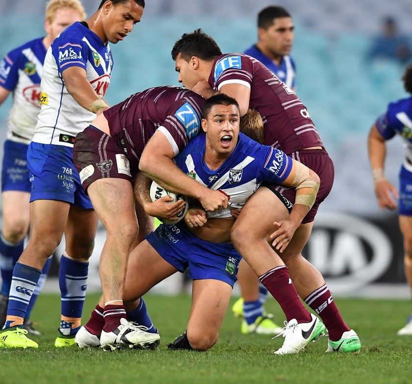 Canterbury hooker Michael Lichaa in action against Manly.