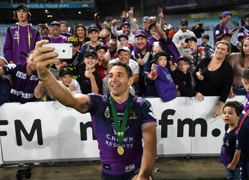 Billy Slater poses with fans after the 2017 NRL Grand Final.