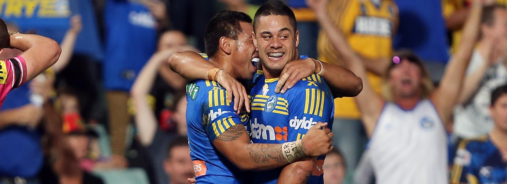 Jarryd Hayne celebrates a try for the Eels in 2014.