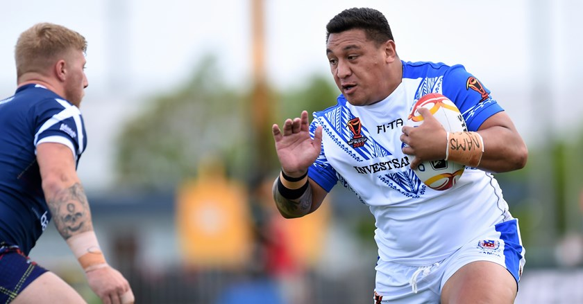 Josh Papalii in action for Samoa at the 2017 World Cup.