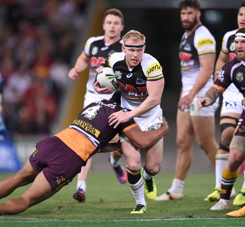 Penrith hooker Peter Wallace in action.