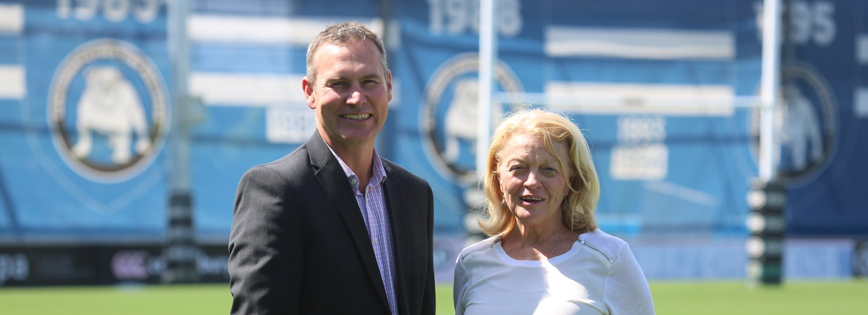 Bulldogs CEO Andrew Hill and chair Lynne Anderson.