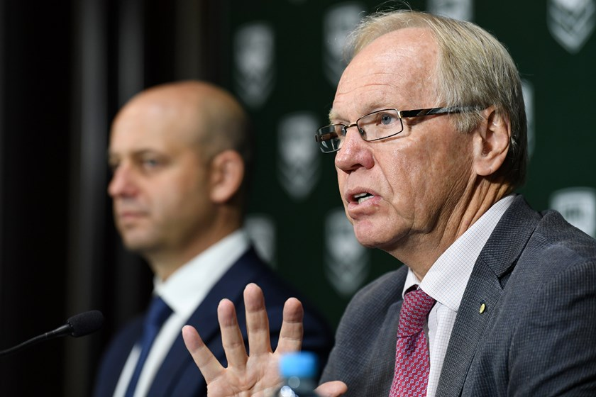 ARLC chairman Peter Beattie with NRL CEO Todd Greenberg.