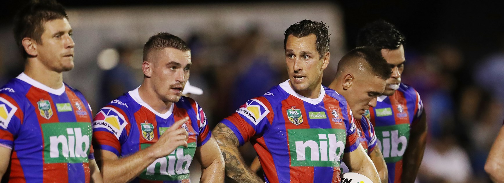 Newcastle Knights halves duo Connor Watson and Mitchell Pearce.