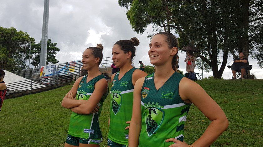 NTL NSW Scorpions players Danielle Davis, Shellie Davis and Samantha Rodgers.