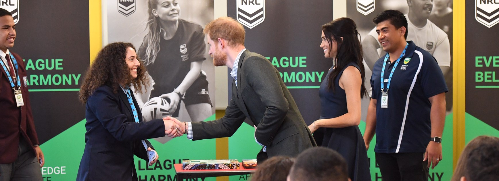 Prince Harry and Meghan Markle took part in the National Rugby League's 'In League in Harmony' program.