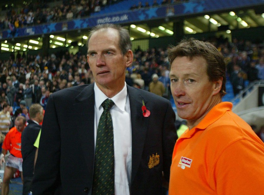 Wayne Bennett and Craig Bellamy at Manchester in 2004 during their time together on the Kangaroos coaching staff.