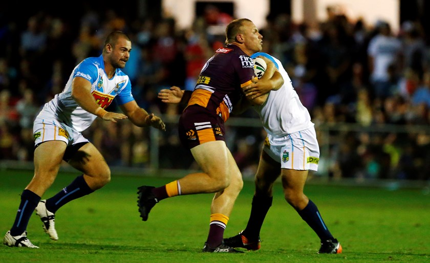 Matt Lodge in action against the Titans.