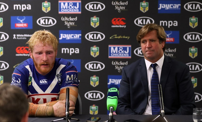 James Graham and Des Hasler after a loss in 2017.