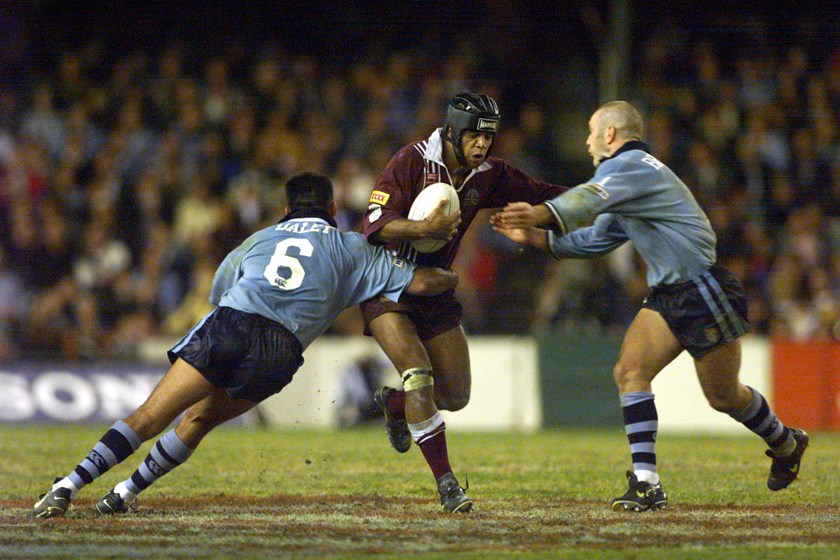 Steve Renouf in action for Queensland in 1998.