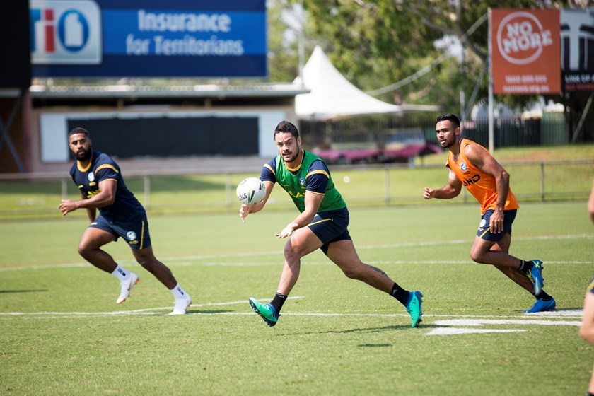 Eels veteran Jarryd Hayne goes through his paces in Darwin with Michael Jennings and Bevan French.