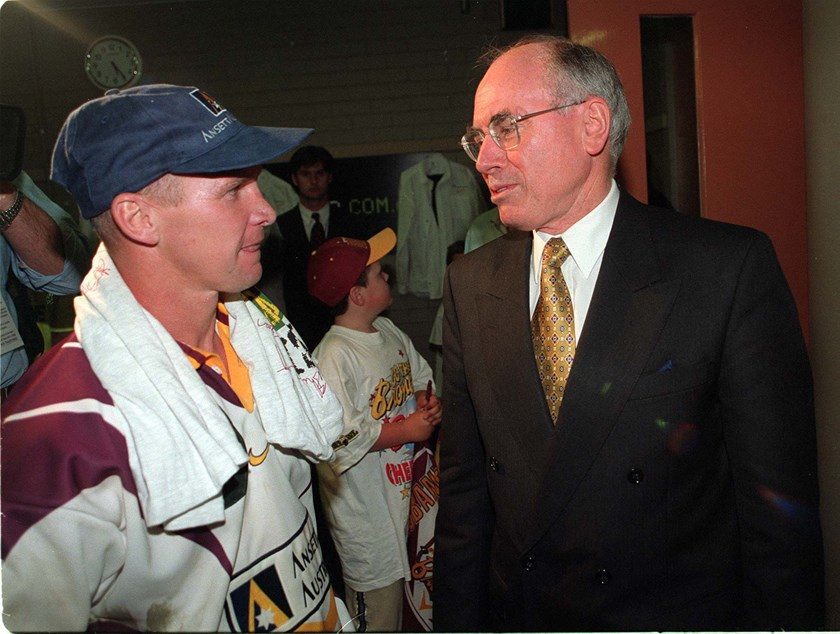 Allan Langer and then Prime Minister John Howard after the match.