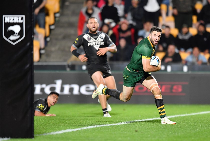 James Tedesco crosses for the Kangaroos.
