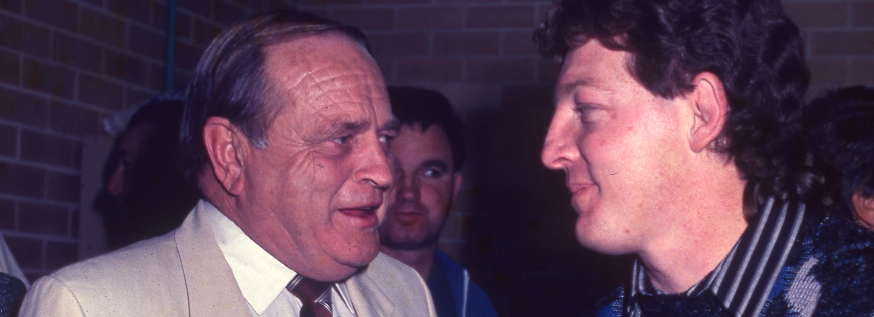 Former Canterbury chairman Peter Moore and then coach Phil Gould.