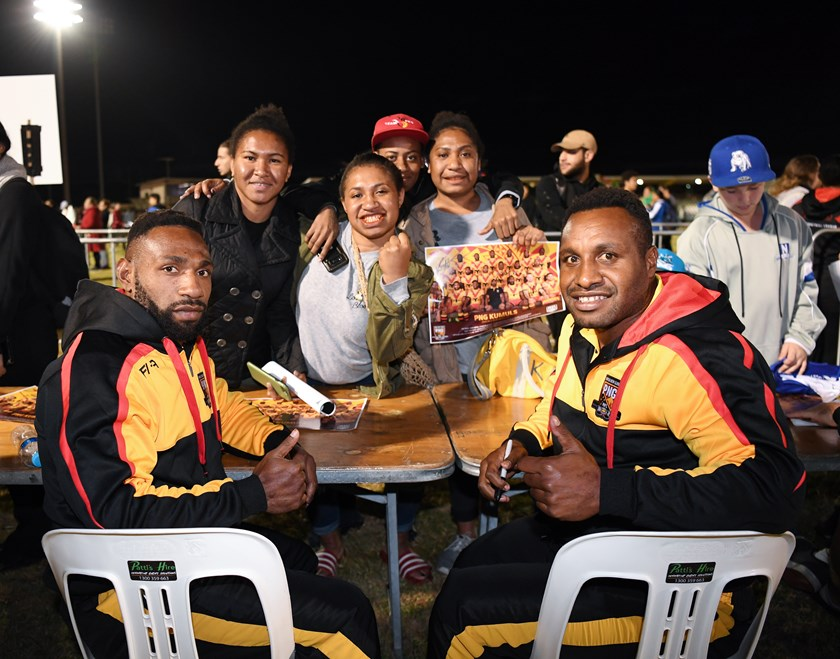 Papua New Guinea players at the Pacific Test fan day.