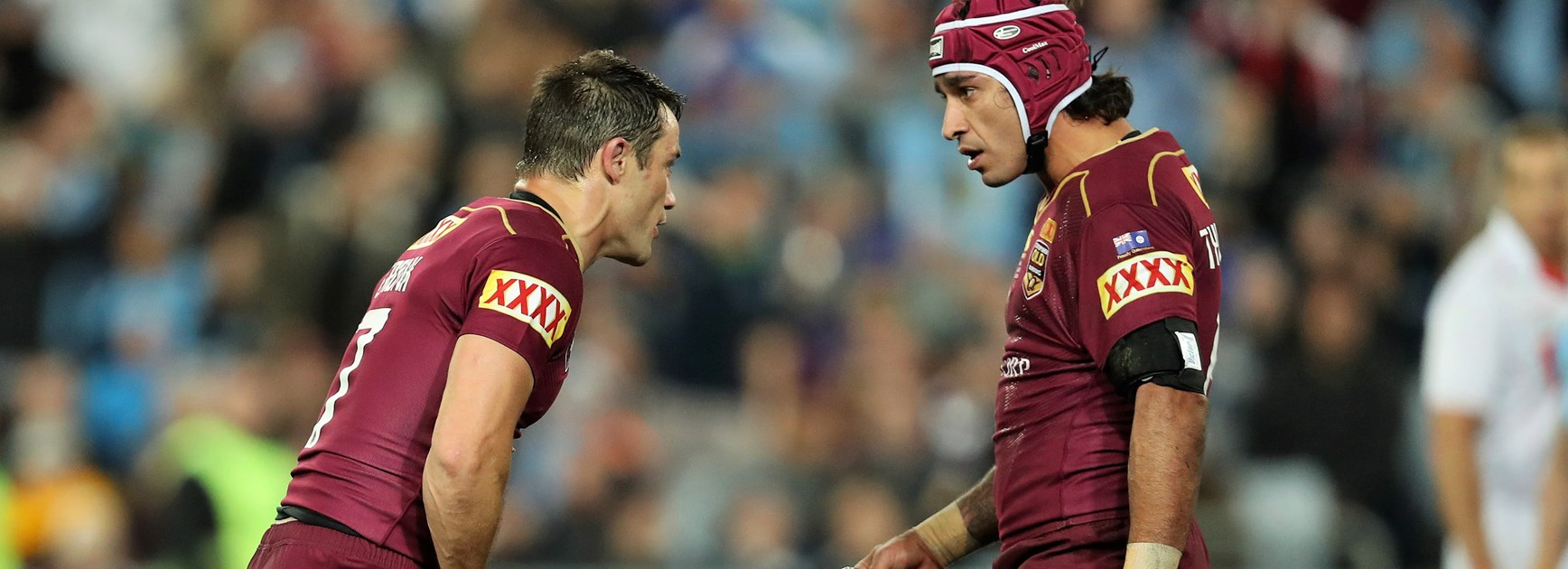 Former Queensland greats Cooper Cronk and Johnathan Thurston.