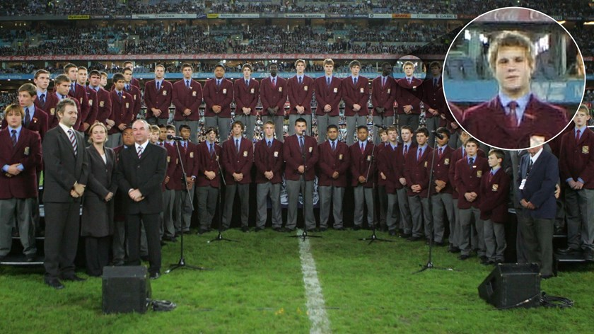 Jack de Belin in his high school choir at the first State of Origin game of 2008.
