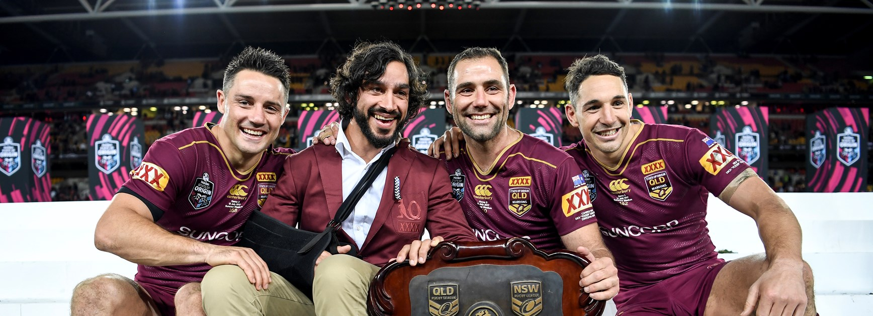 Queensland veterans Cooper Cronk, Johnathan Thurston, Cameron Smith and Billy Slater.