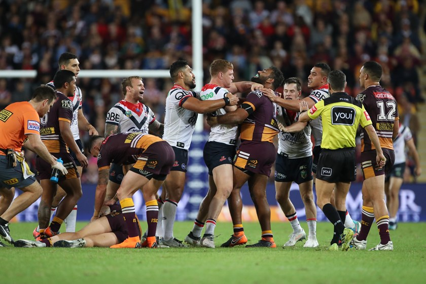 After his controversial hit on Korbin Sims, Roosters prop Dylan Napa rumbles with Sam Thaiday.