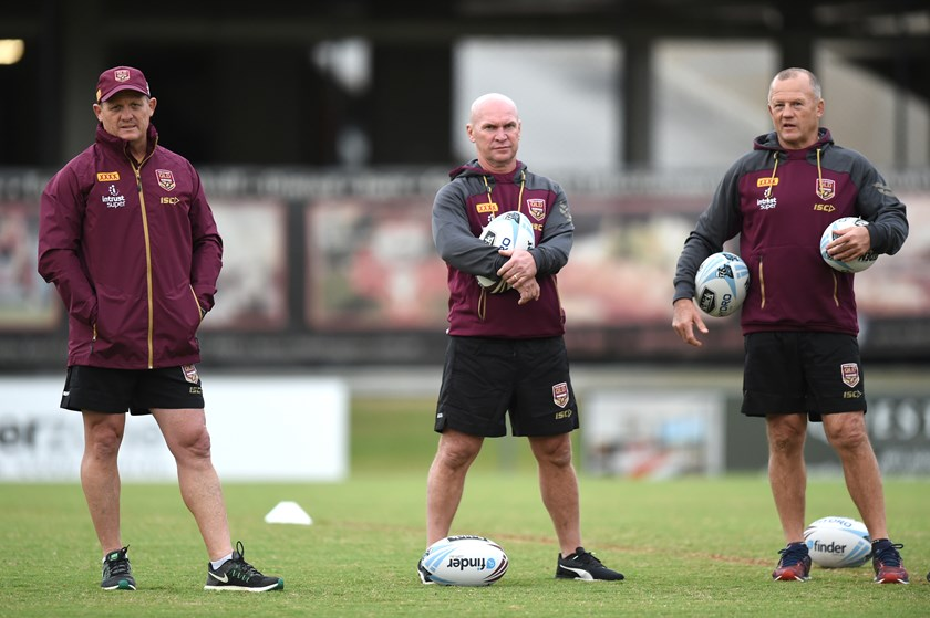 Kevin Walters, Allan Langer and Trevor Gillmesiter at Maroons training.