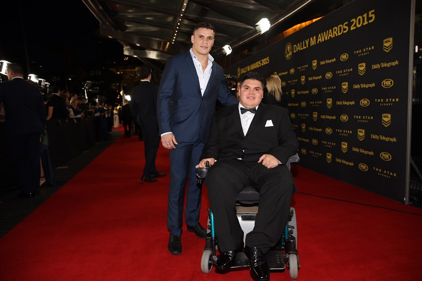 James Roberts with his brother Kirk at the Dally M Awards.