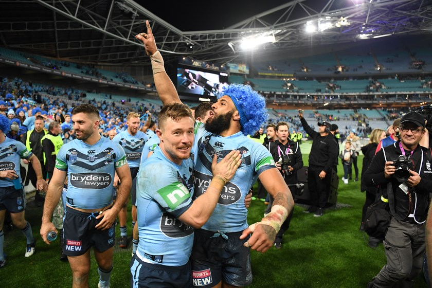 Josh Addo-Carr salutes the fans with Damien Cook after the Origin II win at ANZ Stadium.