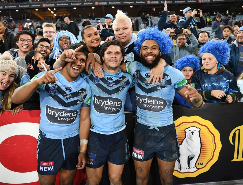 Blues trio Tyrone Peachey, James Roberts and Josh Addo-Carr celebrate the series win.