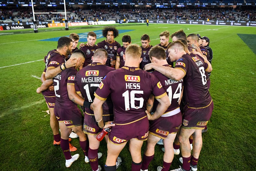 Queensland captain Greg Inglis addresses his players at the MCG.