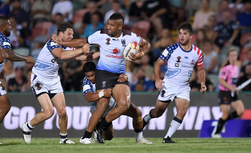 Viliame Kikau represents Fiji against the USA.