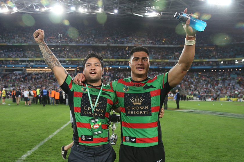 Issac Luke shares in the Rabbitohs' 2014 grand final celebrations.