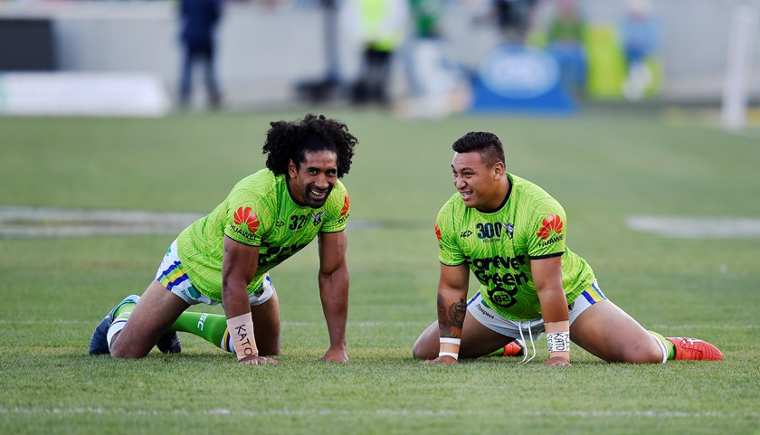 Raiders forwards Sia Soliola and Josh Papalii.