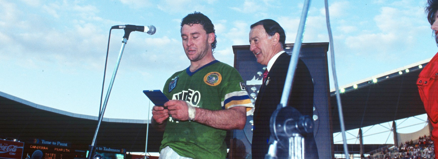 Raiders coach Ricky Stuart in his playing days after helping Canberra beat Penrith in the 1990 grand final.