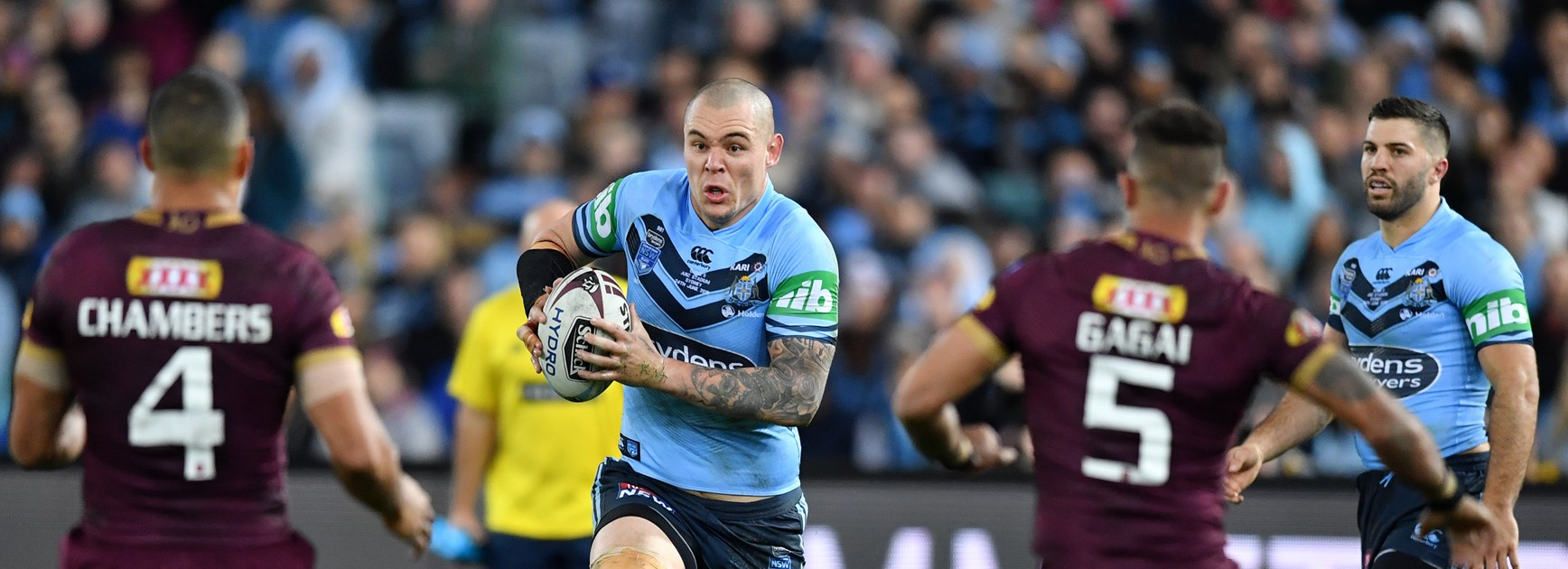 David Klemmer on the charge for the Blues.