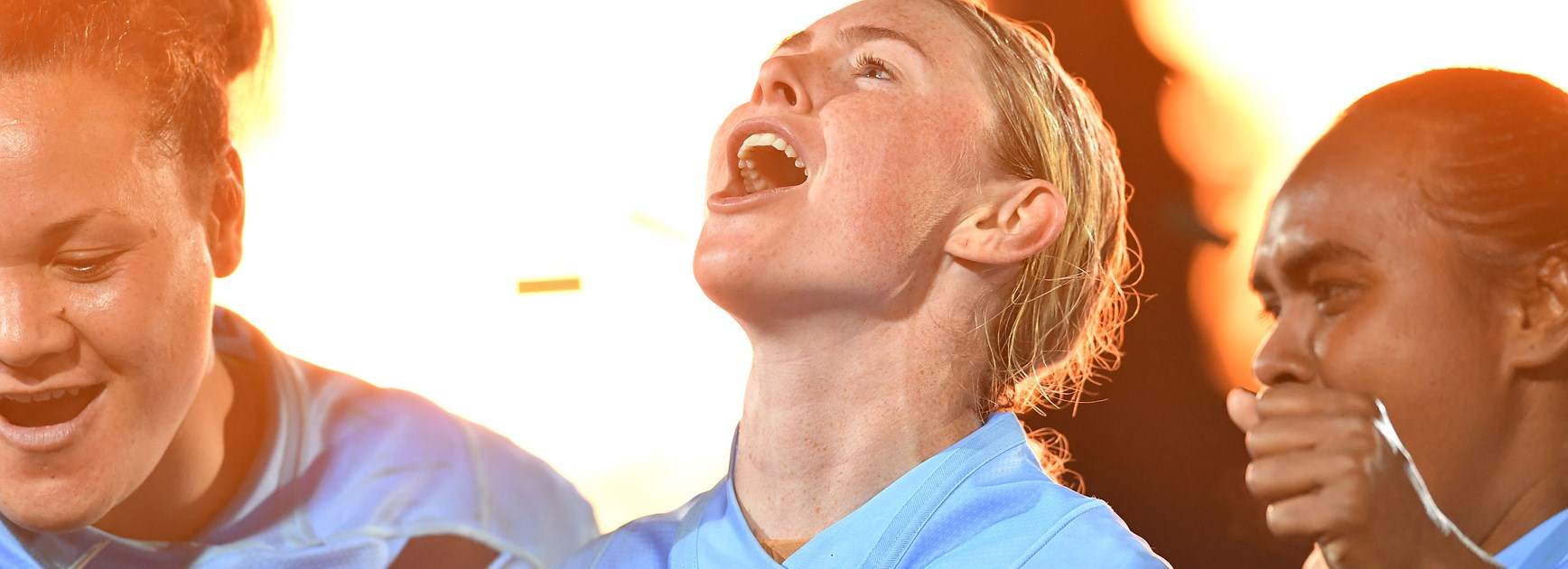 NSW captain Maddie Studdon celebrates beating Queensland.