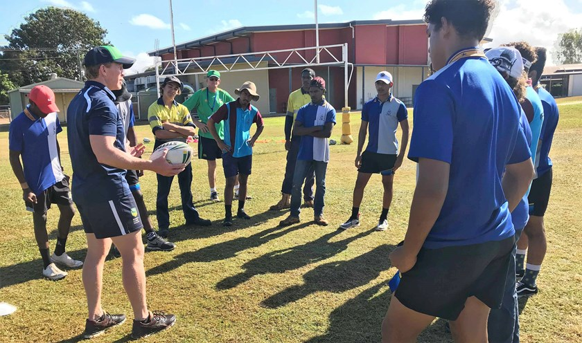 Former Canberra Raiders captain Alan Tongue in the Queensland town of Weipa as part of the Voice Against Violence campaign.