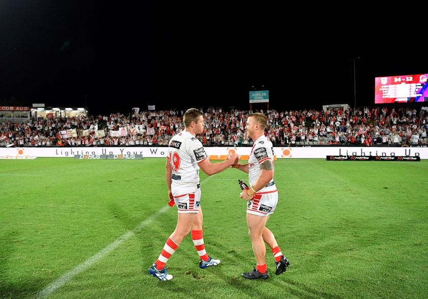 Dragons pair Jeremy Latimore (left) and Euan Aitken after beating the Broncos.