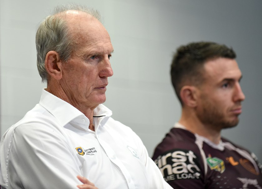 Broncos coach Wayne Bennett and captain Darius Boyd.
