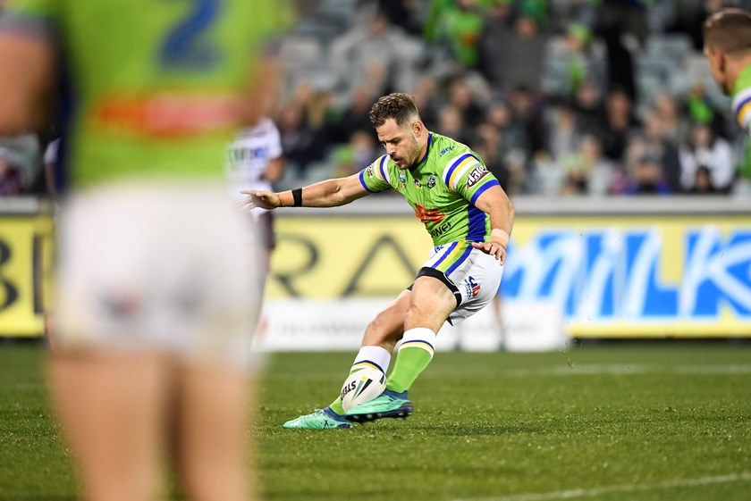 Raiders halfback Aidan Sezer boots the winning field goal against Manly.