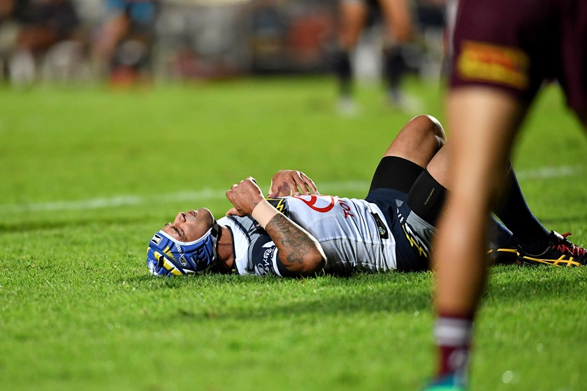 Cowboys captain Johnathan Thurston after he was hit late by Jack Gosiewski.