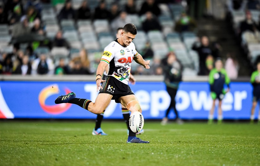 Panthers halfback Nathan Cleary kicks the match-winning field goal against the Raiders.